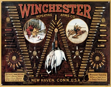 "Winchester - ""W"" Bullet Board Tin Sign"