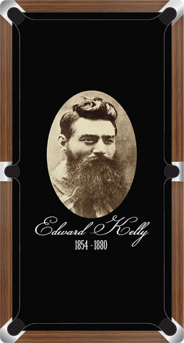Graphic Digitally Printed Outlaw Ned Kelly Portait 8ft Pool Table Cloth