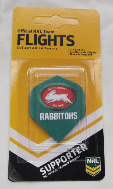 NRL Licensed DART FLIGHTS x 3 - South Sydney RABBITOHS