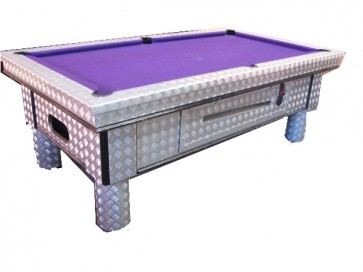 Checkerplate 7Ft Electronic Coin Op Pool Table With Accessories