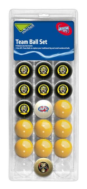 AFL Licensed POOL BALLS - 16 Pack - Richmond TIGERS Old Logo