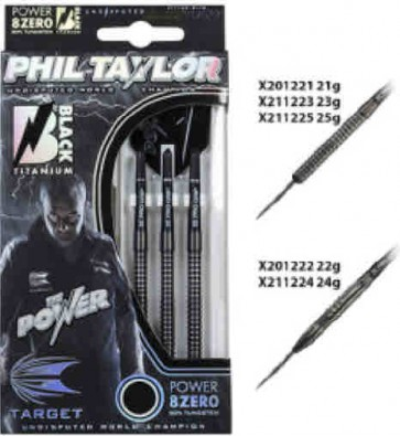 Phil Taylor Tungsten DARTS Power 8ZERO Black Titanium - SET OF 3 - 22gm