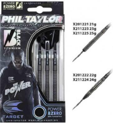 Phil Taylor Tungsten DARTS Power 8ZERO Black Titanium - SET OF 3 - 23gm