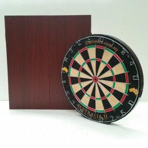 Australia II Micro/Triangle Wire Dartboard & Cabinet Mahogany Finish + Free Darts