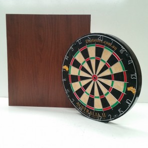 Australia II Micro/Triangle Wire Dartboard & Cabinet Walnut Finish + Free Darts