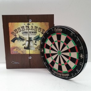New Concept TX290 DARTBOARD & (Ned Kelly) Bushranger CABINET & Six DARTS