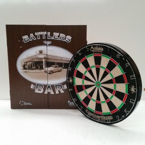 New Concept TX290 DARTBOARD & Battlers Bar CABINET & Six DARTS