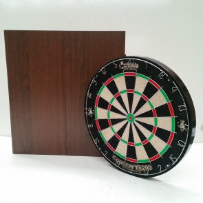 New Concept TX290 DARTBOARD & Wallnut Finish CABINET & Six DARTS