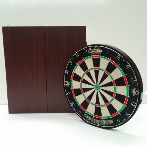 New Concept TX290 DARTBOARD & Mahogany Finish CABINET & Six DARTS