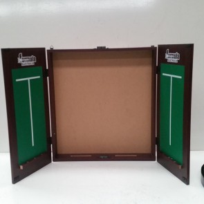 Dartboard CABINET - Mahogany Finish with Soreboards