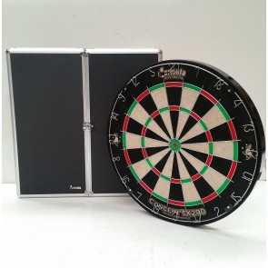 New Concept TX290 DARTBOARD & Black Aluminium CABINET & Six DARTS