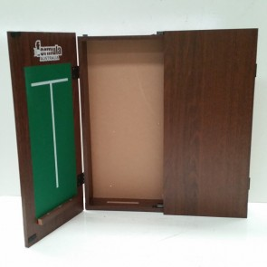 Dartboard CABINET - Walnut Finish with Scoreboard