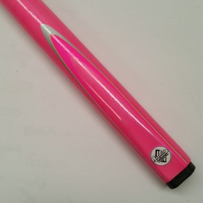 "48"" Childrens 2 Pce Composite Pool Snooker Billiards CUE & CASE -  Pink Fluro with Silver & Pink Flame"