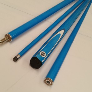 "54"" Composite 2 Pce Pool Snooker Billiards CUE - Blue Fluro with White & Blue Flame"