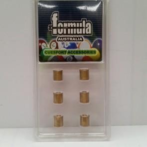 6 x Brass Ferrule CUE TIPS (Stick On) 8mm