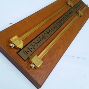 Wooden Snooker Billiards SCOREBOARD - TEAK with BRASS Pointers and Rails