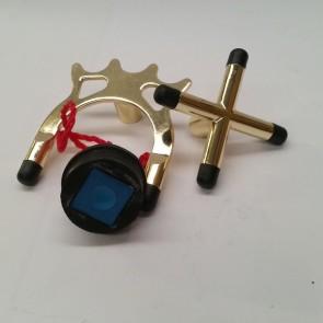 Eddie Charlton Brass CROSS + Brass SPIDER + Black CUE CHALK Holder