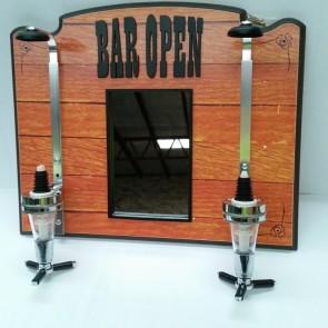 Bar Open 2 Spirit Measure Wall Mounted Dispenser With Mirror