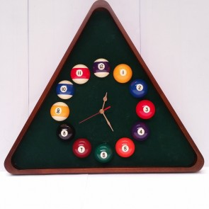 "Triangle Pool Room WALL CLOCK with 2-1/4"" Numbered Balls"