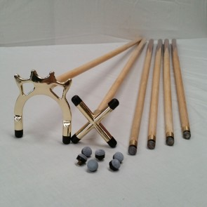 "4 x 57"" Pub Cues 1 x Brass Cross 1 x Spider 6 x Screw Tips"