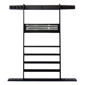 Wall Mount 8 CUE RACK with Scorer - BLACK