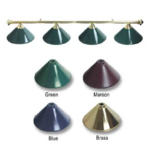Metal BRASS Pool Snooker Billiards Table LIGHT - 4 x Maroon Light Hats