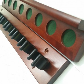 2 Piece Wall Mount CUE RACK - 8 Plastic Clip - WALNUT