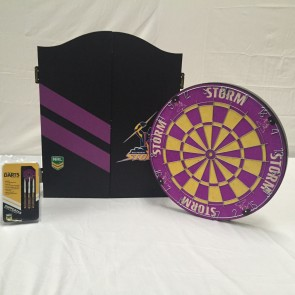 NRL Licensed DARTBOARD PACK - Melbourne STORM New Design 2015