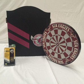 NRL Licensed DARTBOARD PACK - Manly Warringah SEA EAGLES New Design 2015
