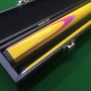 "EC 2 Pce Graphite Pool Snooker Billiards 57"" CUE & CASE - Yellow with Pink & Light Pink Flame"