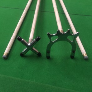 "Two (2) x Ash 57"" Wooden Full Length Pool Snooker Billiard CUES With Chrome Cue Rest + Spider"