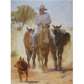 Australian Heritage Series Stockman Kelpie Dog And Packhorses Tin Sign