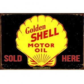 Australian Cars & Transport - Golden Shell Motor Oil - Tin Sign