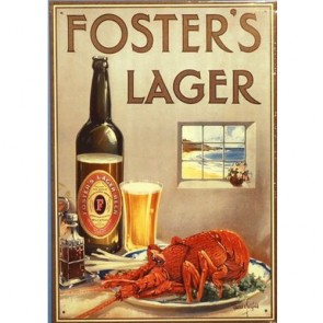 Foster's Lager Crayfish Vintage Tin Sign
