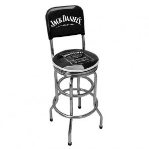 Double Ring BAR STOOL W/Back - JACK DANIELS
