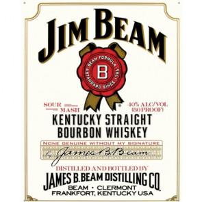 Jim Beam White Label Tin Sign