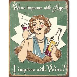 Schonberg - Wine Improves - Tin Sign