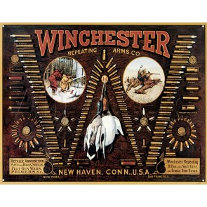 """Winchester - """"W"""" Bullet Board Tin Sign"""