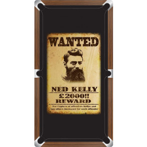 Graphic Digitally Printed Outlaw Ned Kelly Wanted Poster 9ft Pool Table Cloth