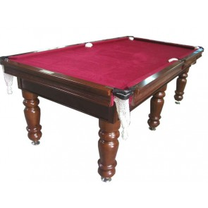 Charlton Pro Slate 6 leg Pool Table Walnut Burgundy 8F