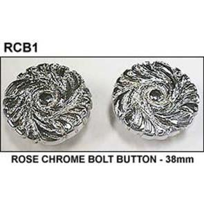 Single Rose BOLT BUTTON - 38mm - CHROME