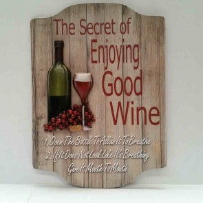 "3-D PREMIUM WALL SIGN ""THE SECRET OF WINE"""