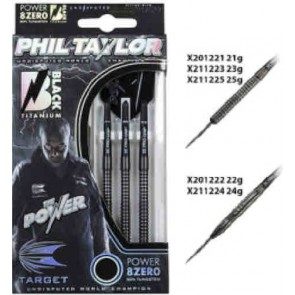 Phil Taylor Tungsten DARTS Power 8ZERO Black Titanium - SET OF 3 - 25gm
